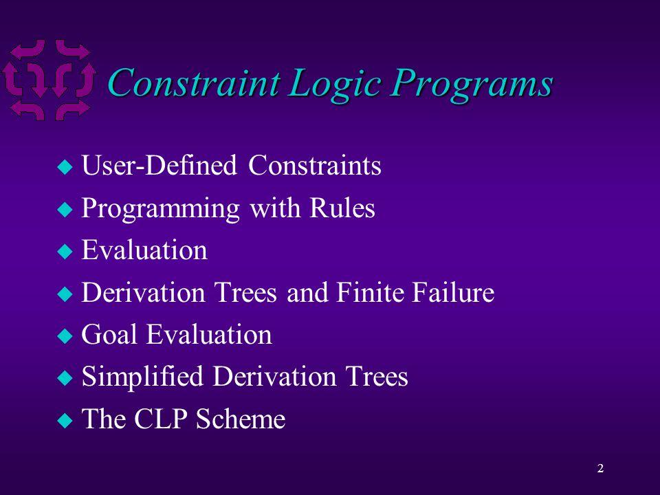 2 Constraint Logic Programs u User-Defined Constraints u Programming with Rules u Evaluation u Derivation Trees and Finite Failure u Goal Evaluation u