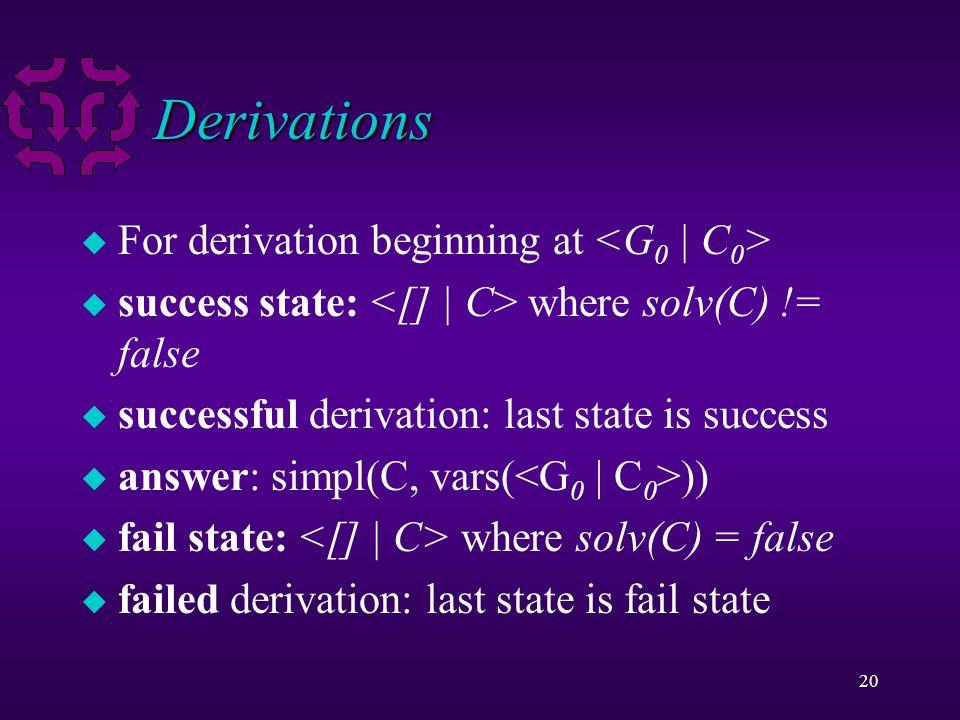 20 Derivations u For derivation beginning at u success state: where solv(C) != false u successful derivation: last state is success u answer: simpl(C,