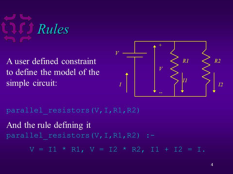 5 Using Rules parallel_resistors(V,I,R1,R2) :- V = I1 * R1, V = I2 * R2, I1 + I2 = I.