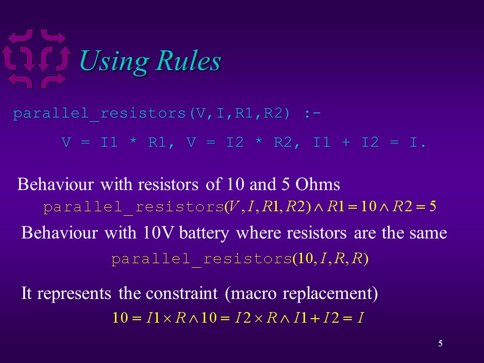 5 Using Rules parallel_resistors(V,I,R1,R2) :- V = I1 * R1, V = I2 * R2, I1 + I2 = I. Behaviour with resistors of 10 and 5 Ohms Behaviour with 10V bat