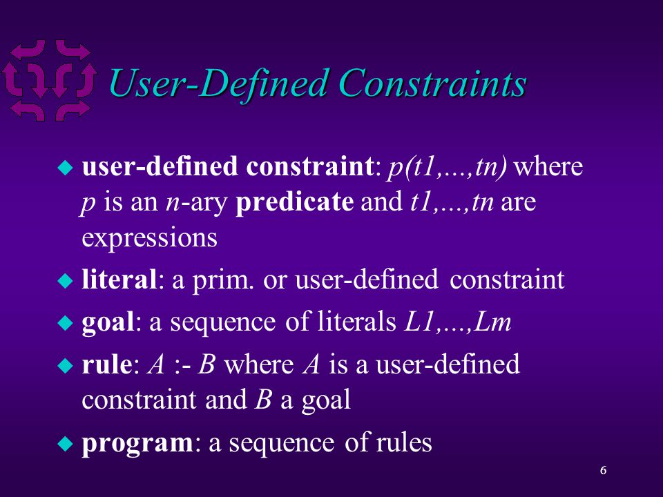 6 User-Defined Constraints u user-defined constraint: p(t1,...,tn) where p is an n-ary predicate and t1,...,tn are expressions u literal: a prim.