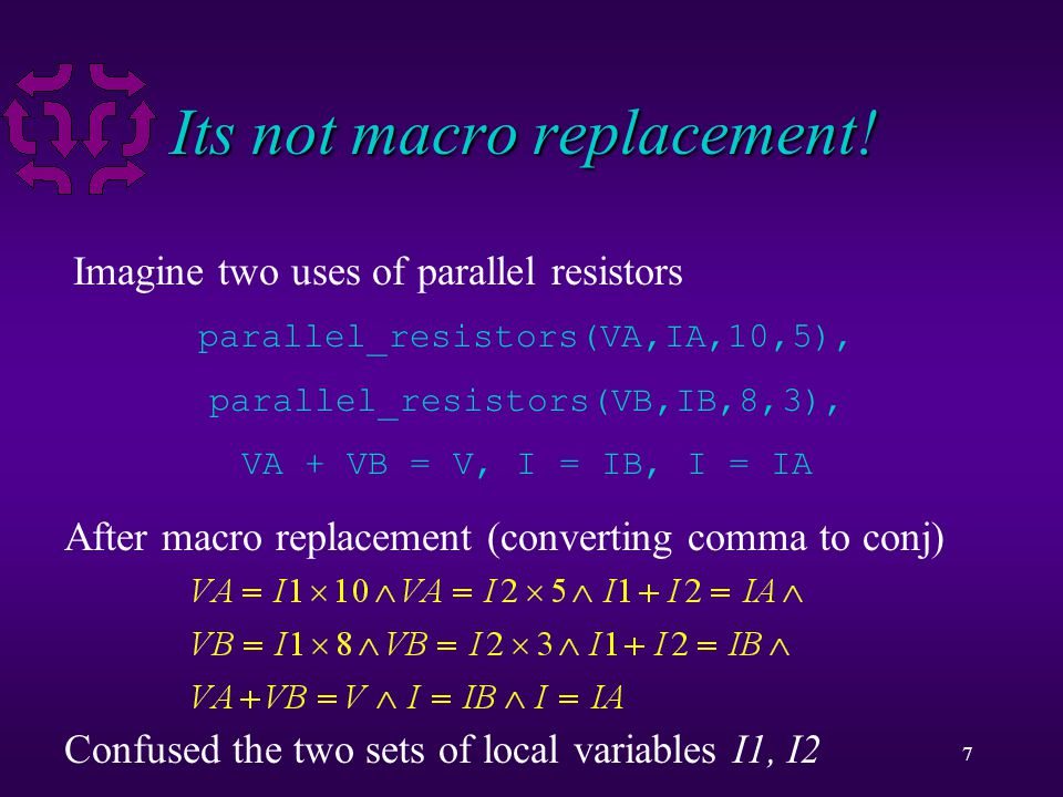 7 Its not macro replacement! parallel_resistors(VA,IA,10,5), parallel_resistors(VB,IB,8,3), VA + VB = V, I = IB, I = IA Imagine two uses of parallel r