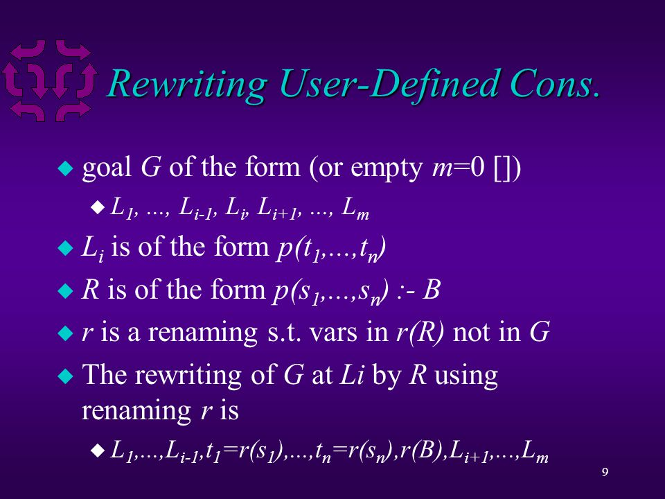 10 Rewriting Example parallel_resistors(VA,IA,10,5), parallel_resistors(VB,IB,8,3), VA + VB = V, I = IB, I = IA Rewrite the first literal with rule parallel_resistors(V,I,R1,R2) :- V = I1 * R1, V = I2 * R2, I1 + I2 = I.