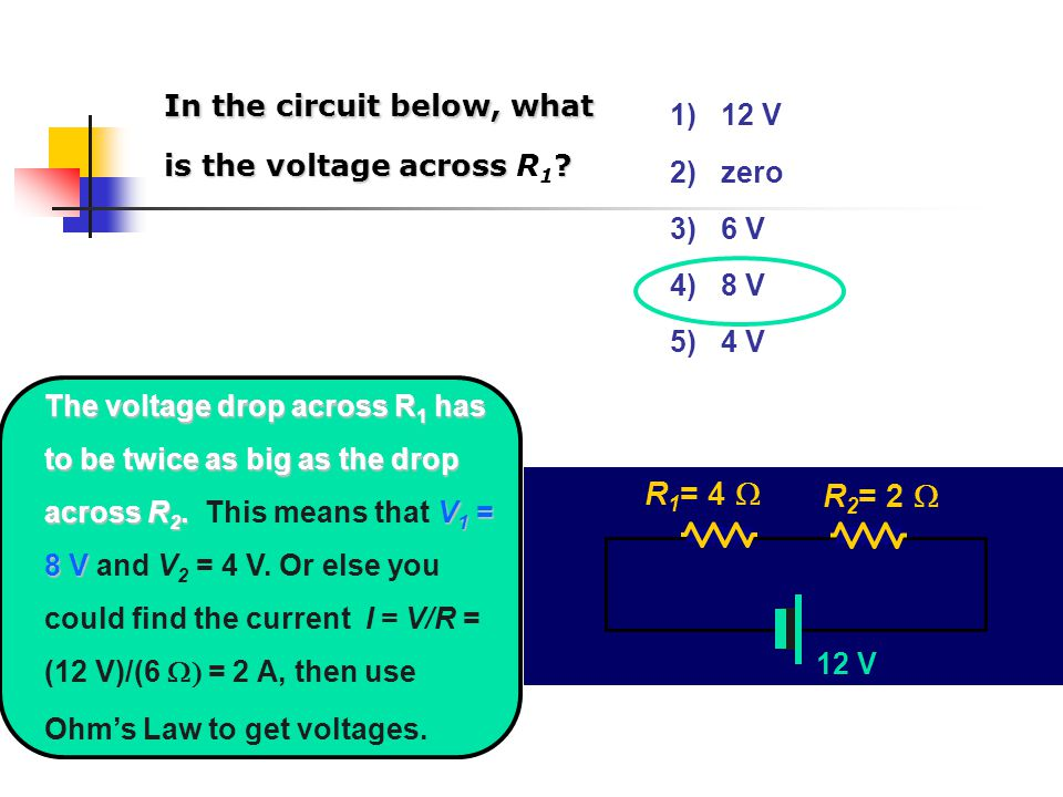 12 V R 1 = 4  R 2 = 2  In the circuit below, what is the voltage across .