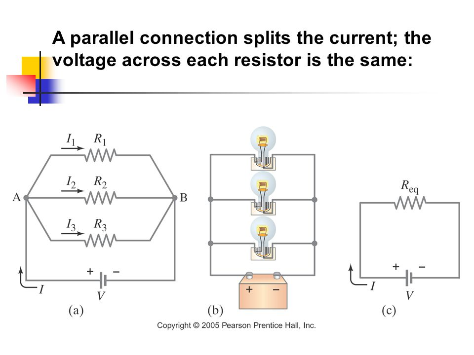 A parallel connection splits the current; the voltage across each resistor is the same: