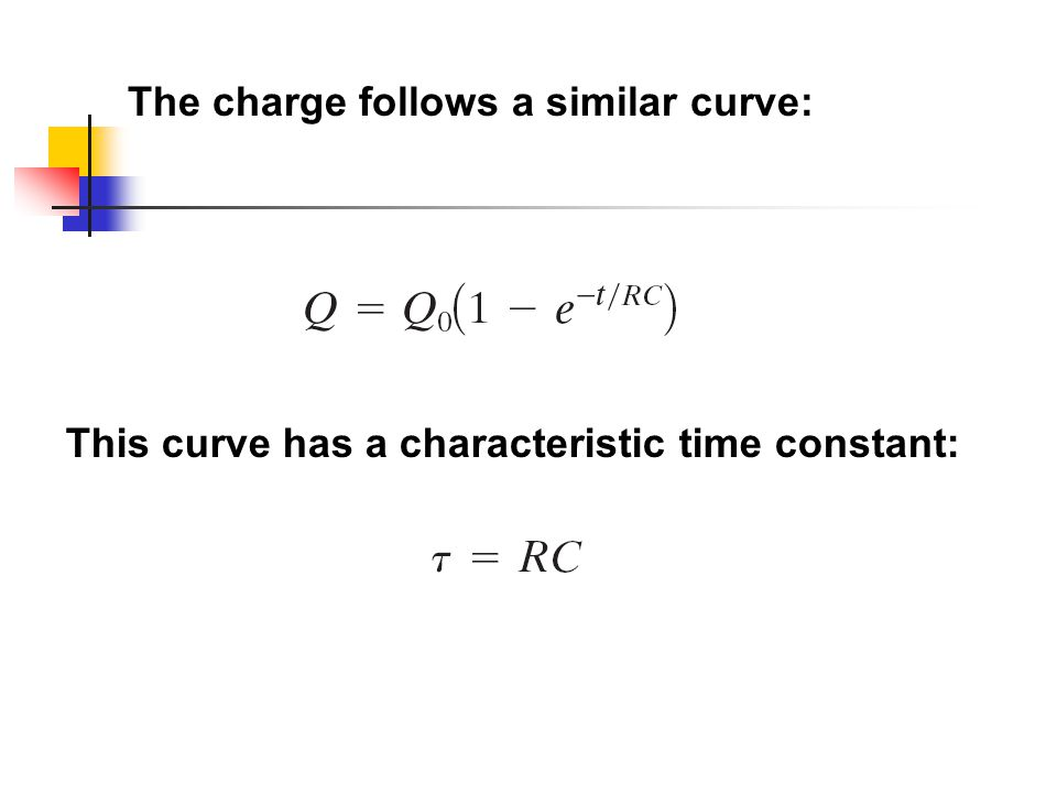 This curve has a characteristic time constant: The charge follows a similar curve: