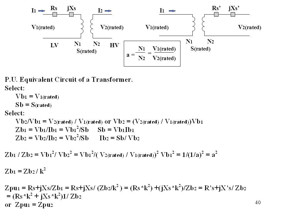 40 Rs'jXs' V 1 (rated) V 2 (rated) RsjXs V 1 (rated) V 2 (rated) N1N1 N2N2 N1N1 N2N2 I1I1 I1I1 I2I2 S (rated) LVHV a = N1N1 N2N2 = V 1 (rated) V 2 (ra