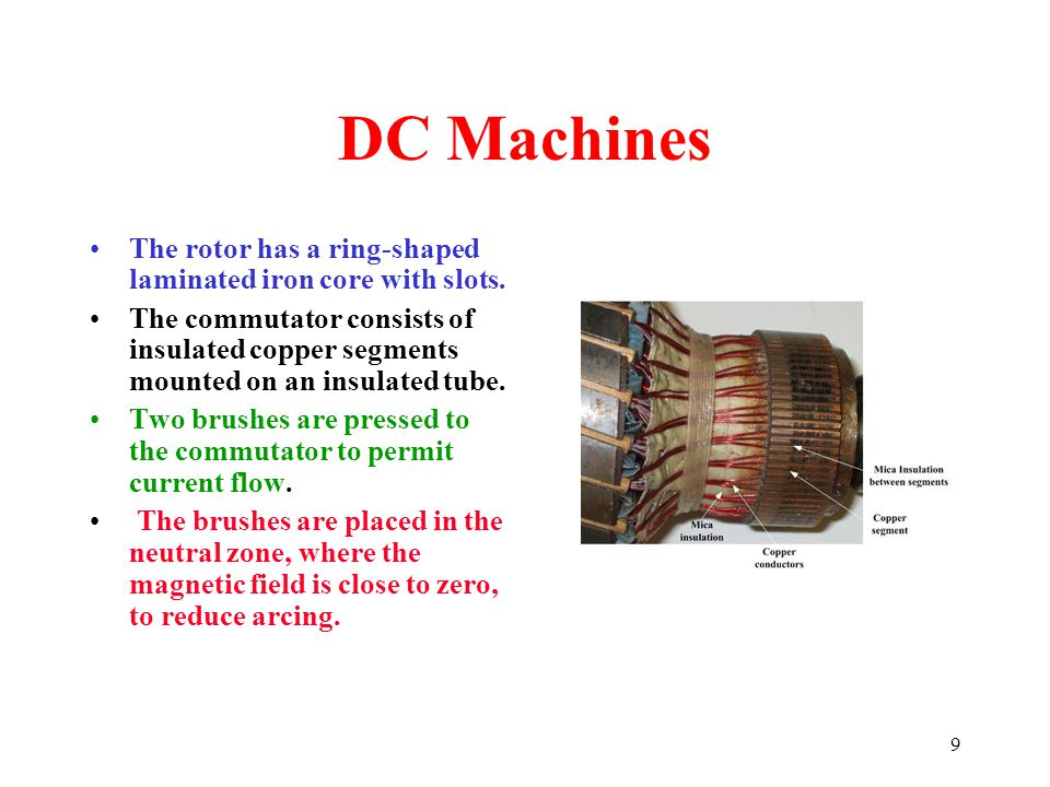 9 DC Machines The rotor has a ring-shaped laminated iron core with slots. The commutator consists of insulated copper segments mounted on an insulated