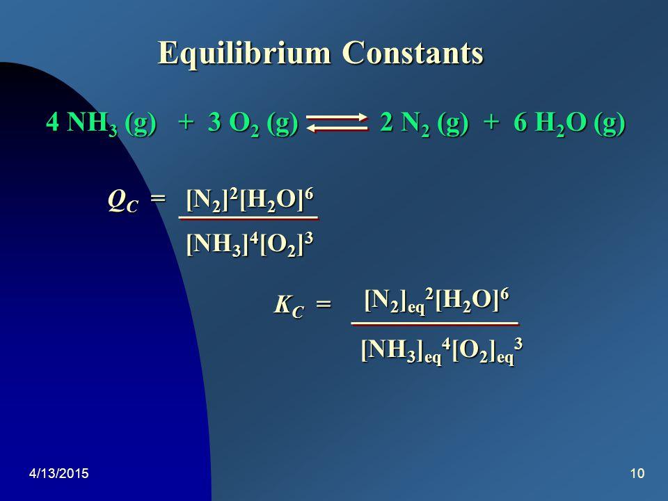 4/13/20159 Equilibrium Constants H 2 (g) + I 2 (g)2 HI (g) K C = [HI] 2 eq [H 2 ] eq [I 2 ] eq Q C = [HI] 2 [H 2 ][I 2 ] Exp.[H 2 ] eq [I 2 ] eq [HI]