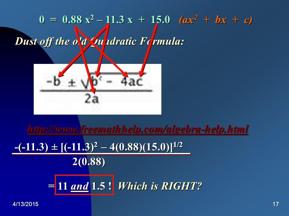 4/13/201516 959 o C 959 o C Equation:H 2 O (g) + CO (g)  H 2 (g) + CO 2 (g) I 2.00 4.00 0.000.00 C- x - x + x+ x E 2.00 - x 4.00 - x x x Chemical Equilibrium [H 2 ][CO 2 ] [H 2 ][CO 2 ] [H 2 O][CO] Kc = = 1.88 (2.00 – x)(4.00 – x) x2x2x2x2 = x 2 = 1.88(2.00 – x)(4.00 – x) = 1.88(8.00 - 6x – x 2 ) x 2 = 15.0 – 11.3x +1.88x 2  0 = 0.88x 2 – 11.3x +15.0
