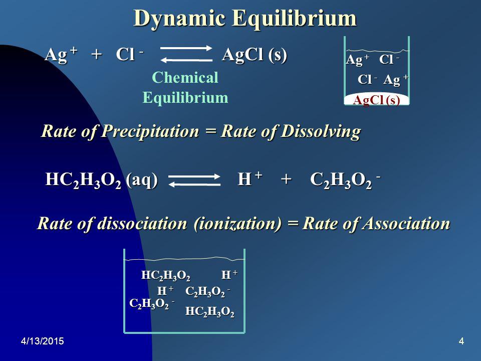 4/13/20153 Dynamic Equilibrium Evaporation Open System (No Equilibrium) Evaporation Liquid Gas (No Equilibrium) (No Equilibrium) Liquid Gas Liquid Gas (Equilibrium)