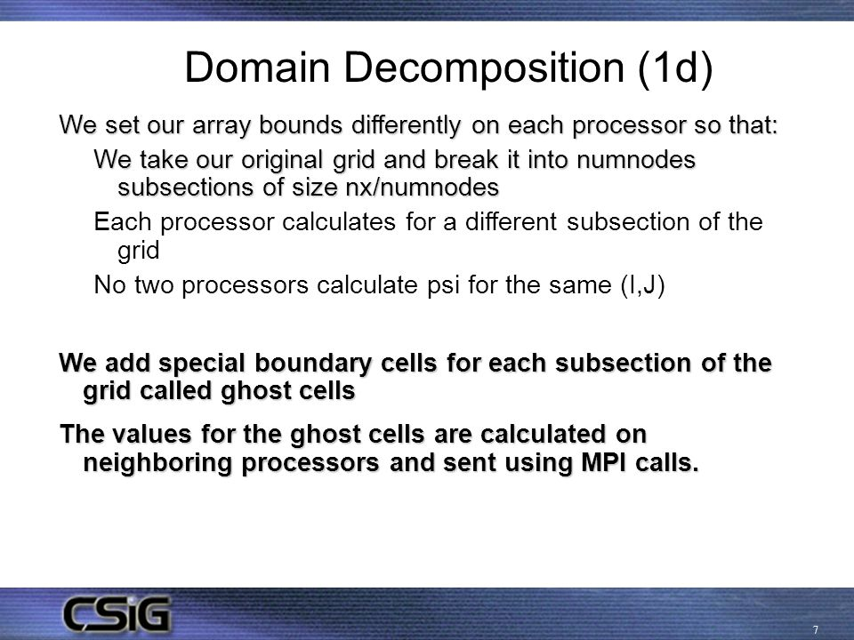 8 Domain Decomposition (1d) With ghost cells our decomposition becomes...