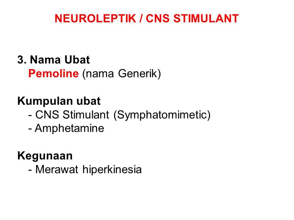 NEUROLEPTIK / CNS STIMULANT 3. Nama Ubat Pemoline (nama Generik) Kumpulan ubat - CNS Stimulant (Symphatomimetic) - Amphetamine Kegunaan - Merawat hipe