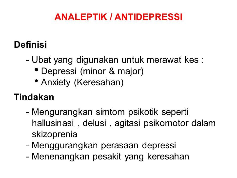 Definisi - Ubat yang digunakan untuk merawat kes :  Depressi (minor & major)  Anxiety (Keresahan) Tindakan - Mengurangkan simtom psikotik seperti ha