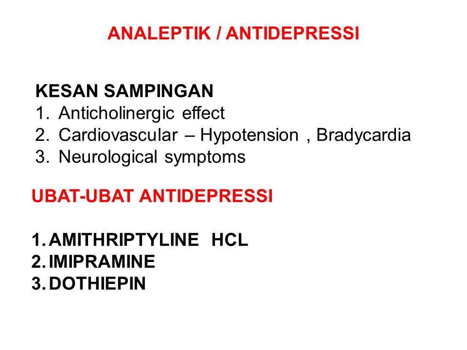 KESAN SAMPINGAN 1.Anticholinergic effect 2.Cardiovascular – Hypotension, Bradycardia 3.Neurological symptoms ANALEPTIK / ANTIDEPRESSI UBAT-UBAT ANTIDE