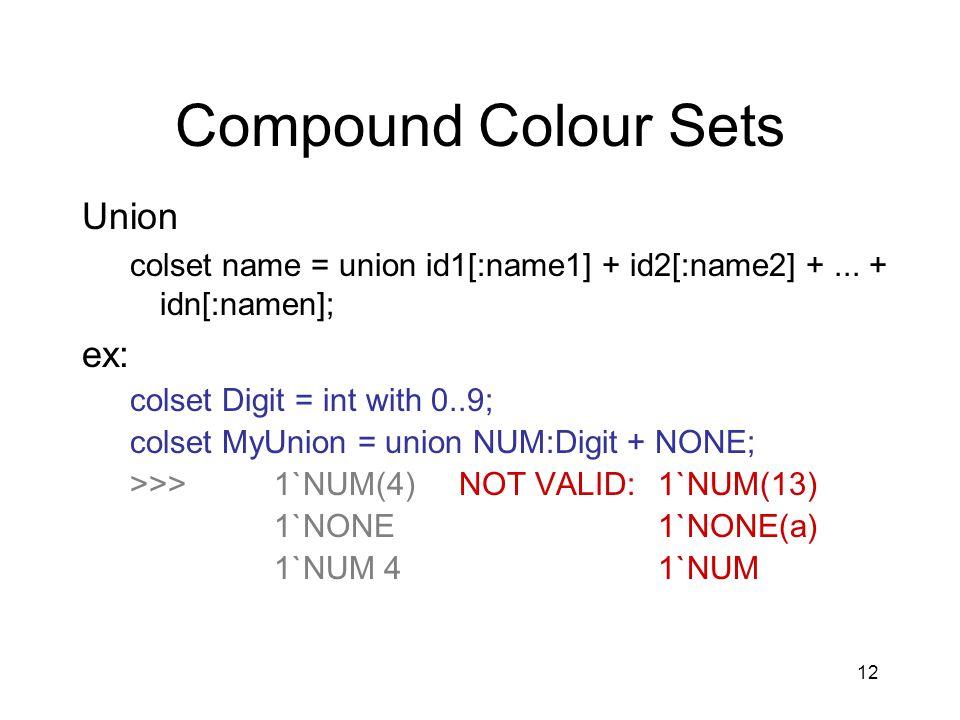 12 Compound Colour Sets Union colset name = union id1[:name1] + id2[:name2] +...