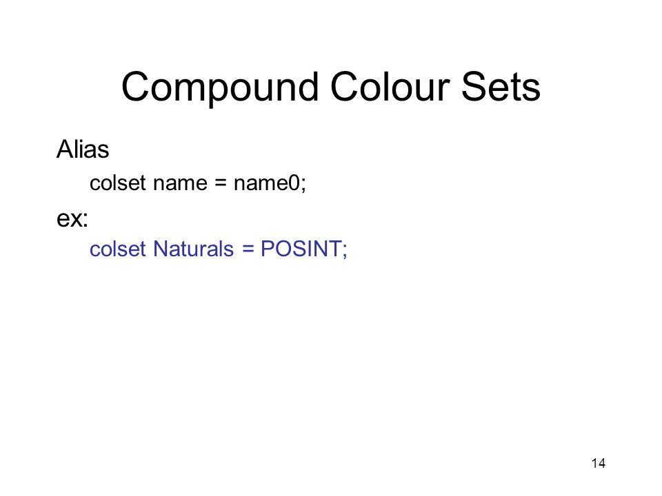14 Compound Colour Sets Alias colset name = name0; ex: colset Naturals = POSINT;