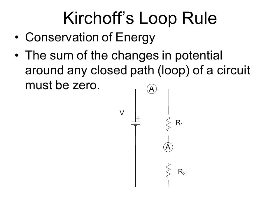 Kirchoff's Loop Rule Conservation of Energy The sum of the changes in potential around any closed path (loop) of a circuit must be zero. R2R2 A A R1R1