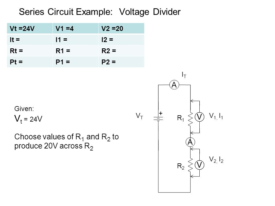 Series Circuit Example: Voltage Divider A A V 1, I 1 + ITIT VV R1R1 VTVT Given: V t = 24 V Choose values of R 1 and R 2 to produce 20V across R 2 R2R2