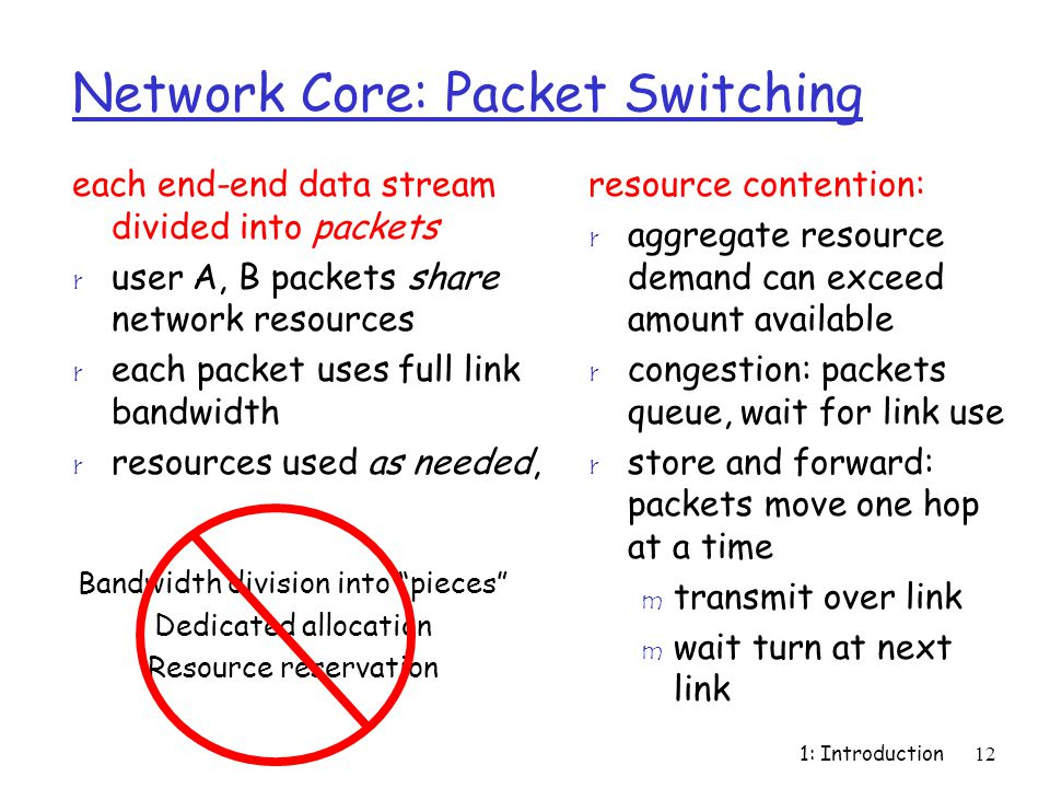 1: Introduction12 Network Core: Packet Switching each end-end data stream divided into packets r user A, B packets share network resources r each pack
