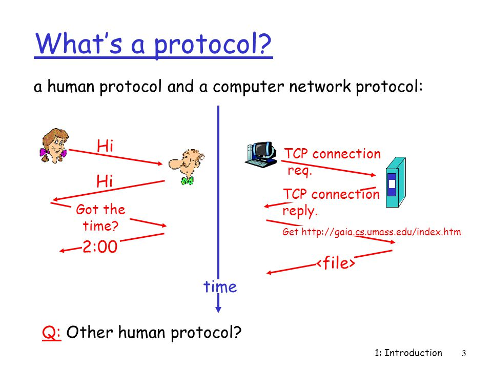 1: Introduction3 What's a protocol? a human protocol and a computer network protocol: Q: Other human protocol? Hi Got the time? 2:00 TCP connection re