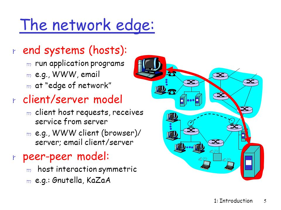 "1: Introduction5 The network edge: r end systems (hosts): m run application programs m e.g., WWW, email m at ""edge of network"" r client/server model m"