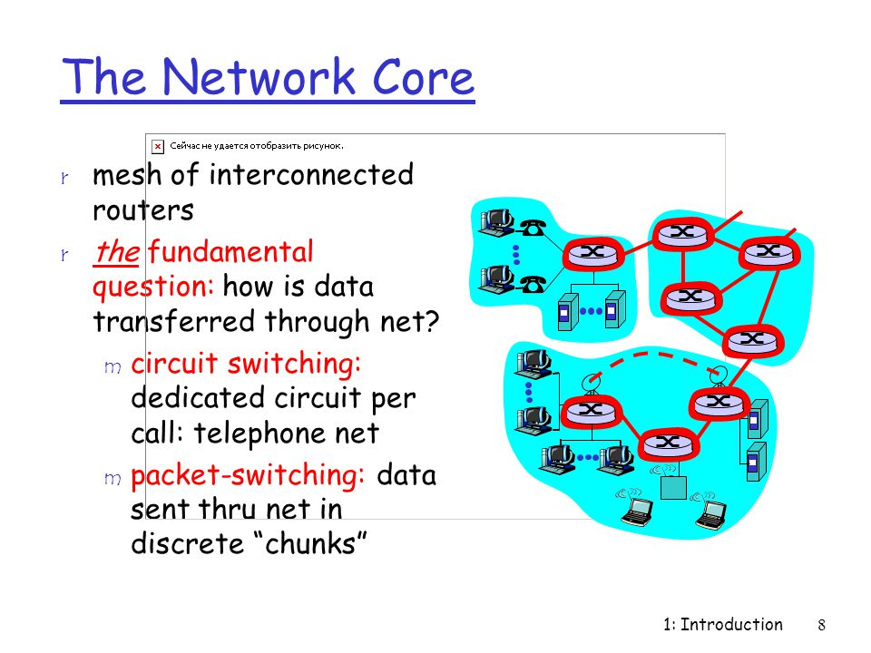 1: Introduction8 The Network Core r mesh of interconnected routers r the fundamental question: how is data transferred through net? m circuit switchin