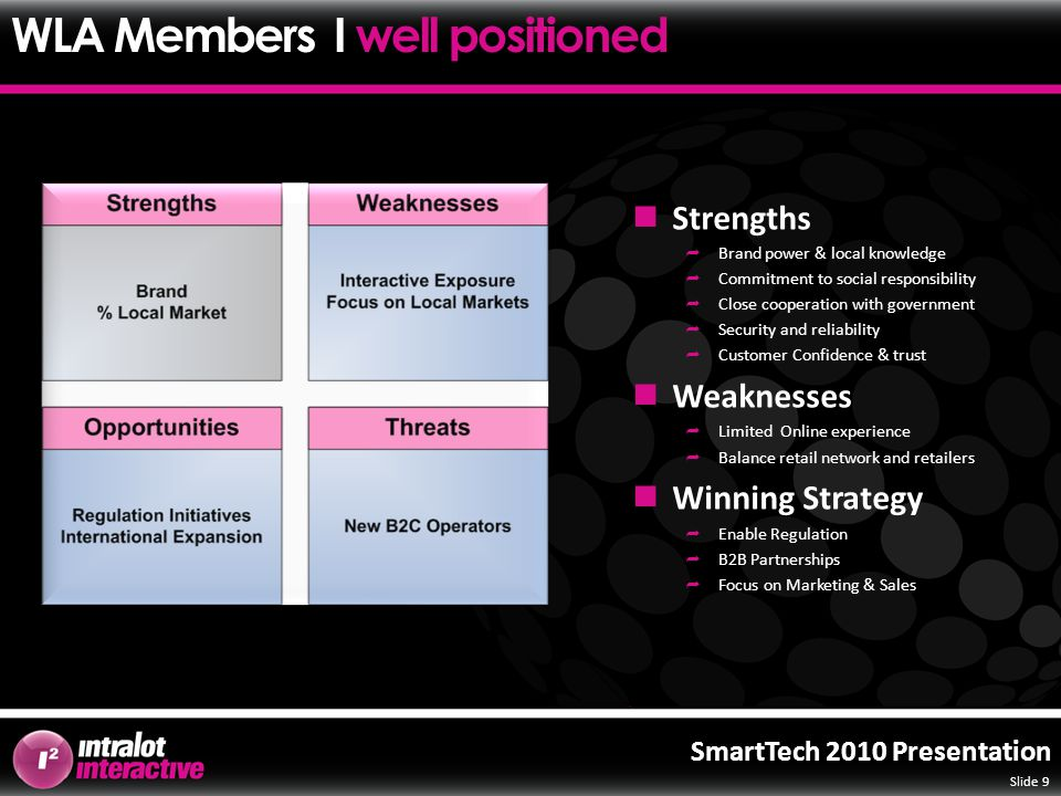 Slide 9 SmartTech 2010 Presentation Strengths  Brand power & local knowledge  Commitment to social responsibility  Close cooperation with government  Security and reliability  Customer Confidence & trust Weaknesses  Limited Online experience  Balance retail network and retailers Winning Strategy  Enable Regulation  B2B Partnerships  Focus on Marketing & Sales WLA Members I well positioned