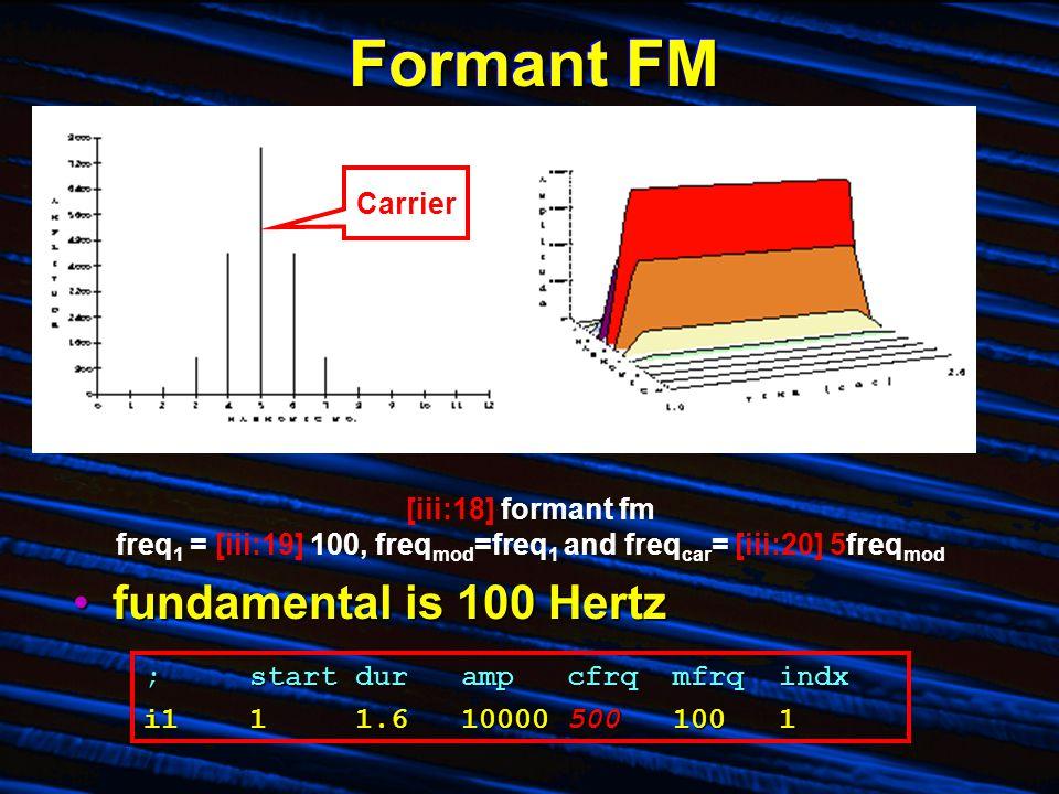 Formant FM fundamental is 100 Hertzfundamental is 100 Hertz [iii:18] formant fm freq 1 = [iii:19] 100, freq mod =freq 1 and freq car = [iii:20] 5freq mod ;startdurampcfrqmfrqindx i111.6100005001001 Carrier