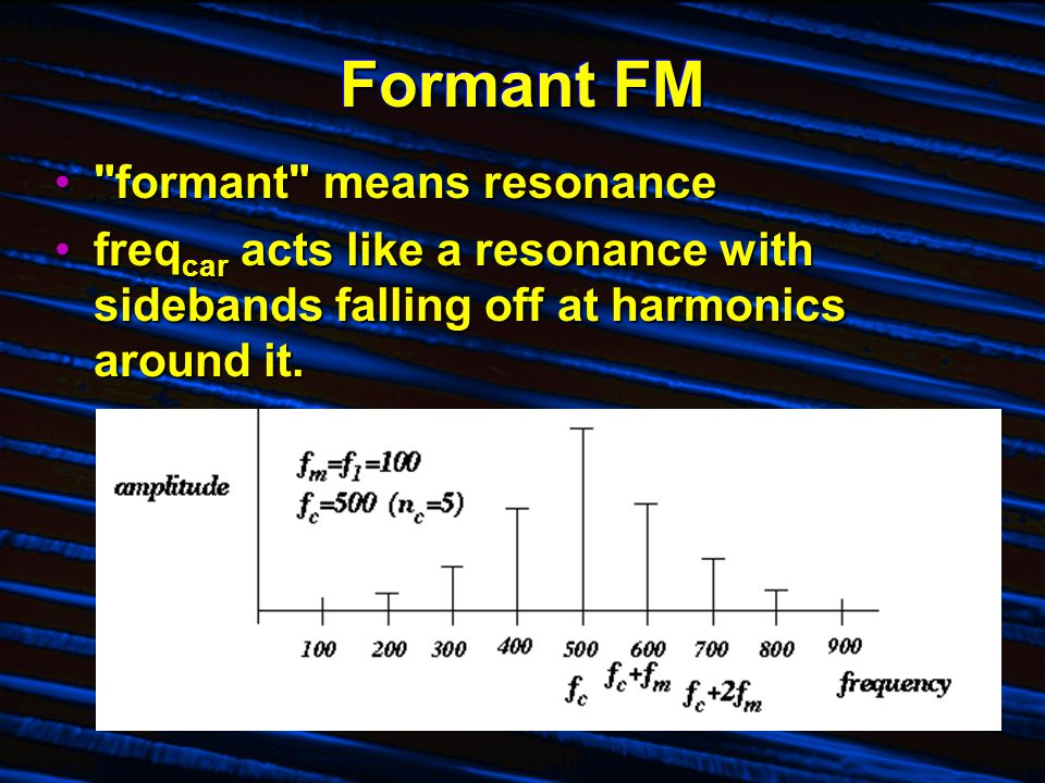 Formant FM formant means resonance formant means resonance freq car acts like a resonance with sidebands falling off at harmonics around it.freq car acts like a resonance with sidebands falling off at harmonics around it.