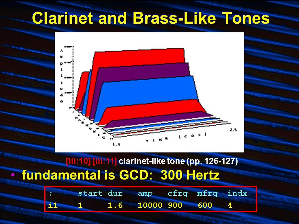 Clarinet and Brass-Like Tones fundamental is GCD: 300 Hertzfundamental is GCD: 300 Hertz [iii:10] [iii:11] clarinet-like tone (pp. 126-127) ;startdura