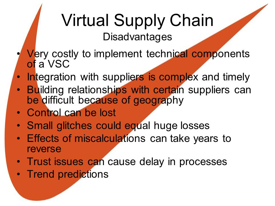 Virtual Supply Chain Disadvantages Very costly to implement technical components of a VSC Integration with suppliers is complex and timely Building relationships with certain suppliers can be difficult because of geography Control can be lost Small glitches could equal huge losses Effects of miscalculations can take years to reverse Trust issues can cause delay in processes Trend predictions