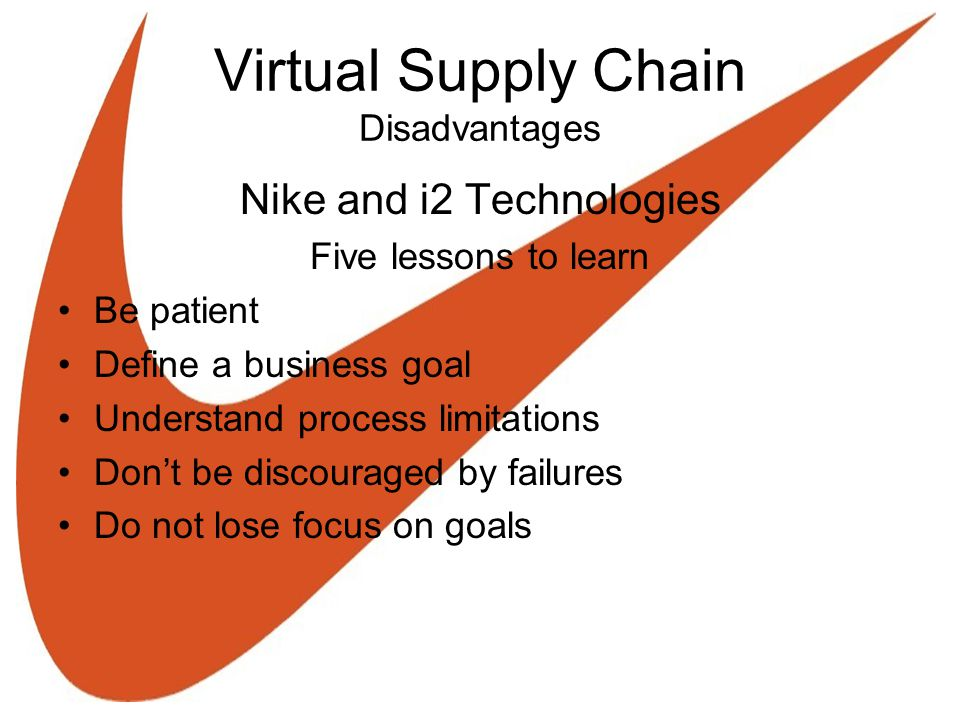 Virtual Supply Chain Disadvantages Nike and i2 Technologies Five lessons to learn Be patient Define a business goal Understand process limitations Don't be discouraged by failures Do not lose focus on goals