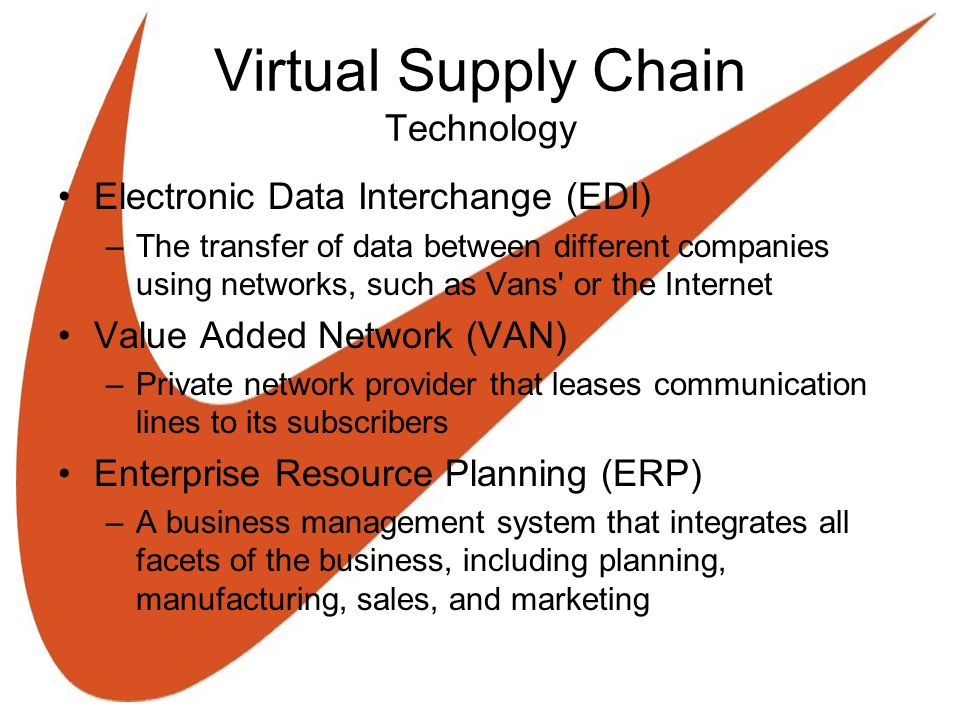 Virtual Supply Chain Technology Electronic Data Interchange (EDI) –The transfer of data between different companies using networks, such as Vans or the Internet Value Added Network (VAN) –Private network provider that leases communication lines to its subscribers Enterprise Resource Planning (ERP) –A business management system that integrates all facets of the business, including planning, manufacturing, sales, and marketing