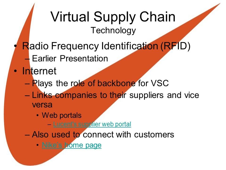 Virtual Supply Chain Technology Radio Frequency Identification (RFID) –Earlier Presentation Internet –Plays the role of backbone for VSC –Links compan