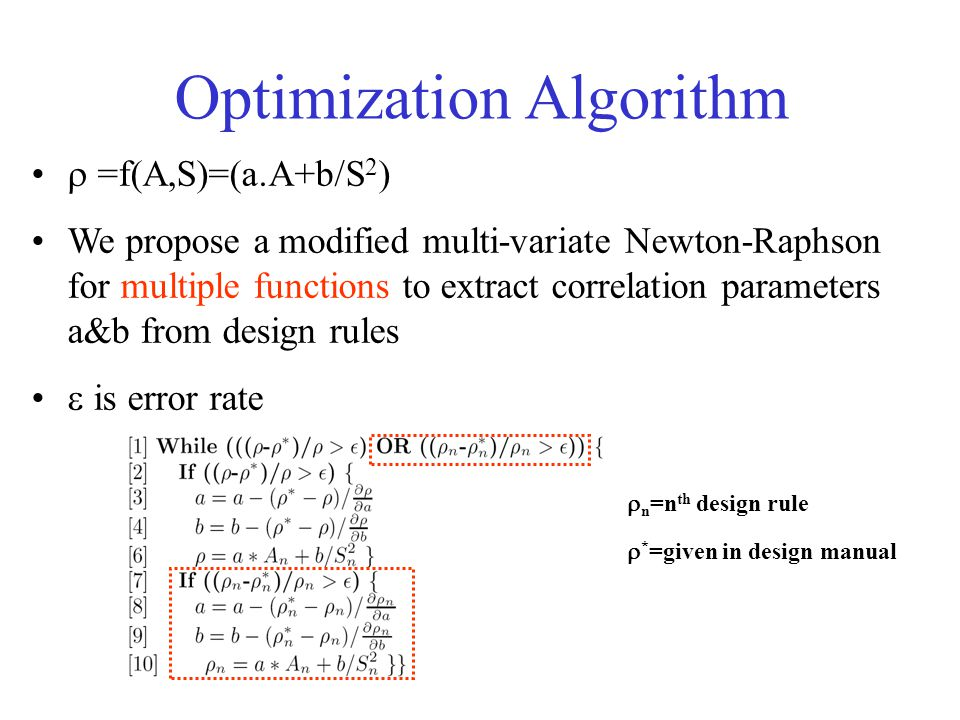  n =n th design rule  * =given in design manual  =f(A,S)=(a.A+b/S 2 ) We propose a modified multi-variate Newton-Raphson for multiple functions to