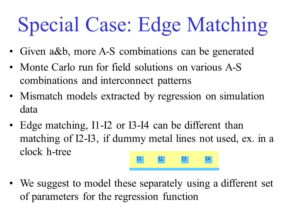I1I2I3I4 Given a&b, more A-S combinations can be generated Monte Carlo run for field solutions on various A-S combinations and interconnect patterns Mismatch models extracted by regression on simulation data Edge matching, I1-I2 or I3-I4 can be different than matching of I2-I3, if dummy metal lines not used, ex.