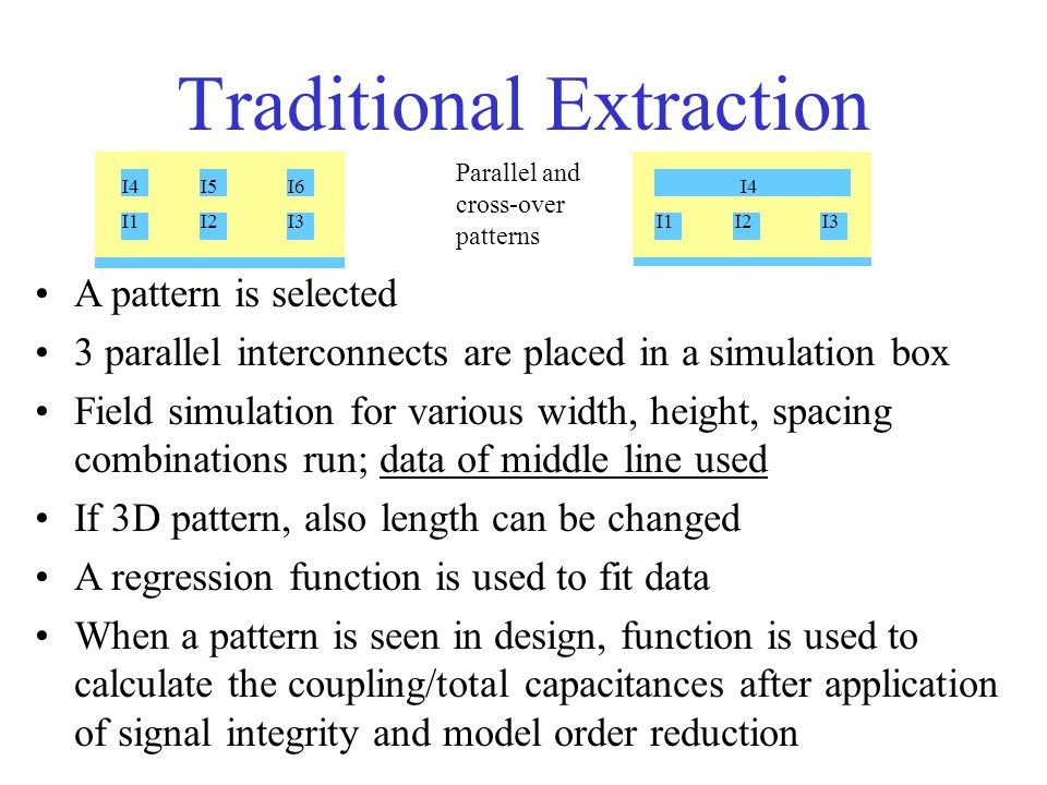 Traditional Extraction I1I2I3I1I2I3 I4I5I6 I4 Parallel and cross-over patterns A pattern is selected 3 parallel interconnects are placed in a simulation box Field simulation for various width, height, spacing combinations run; data of middle line used If 3D pattern, also length can be changed A regression function is used to fit data When a pattern is seen in design, function is used to calculate the coupling/total capacitances after application of signal integrity and model order reduction