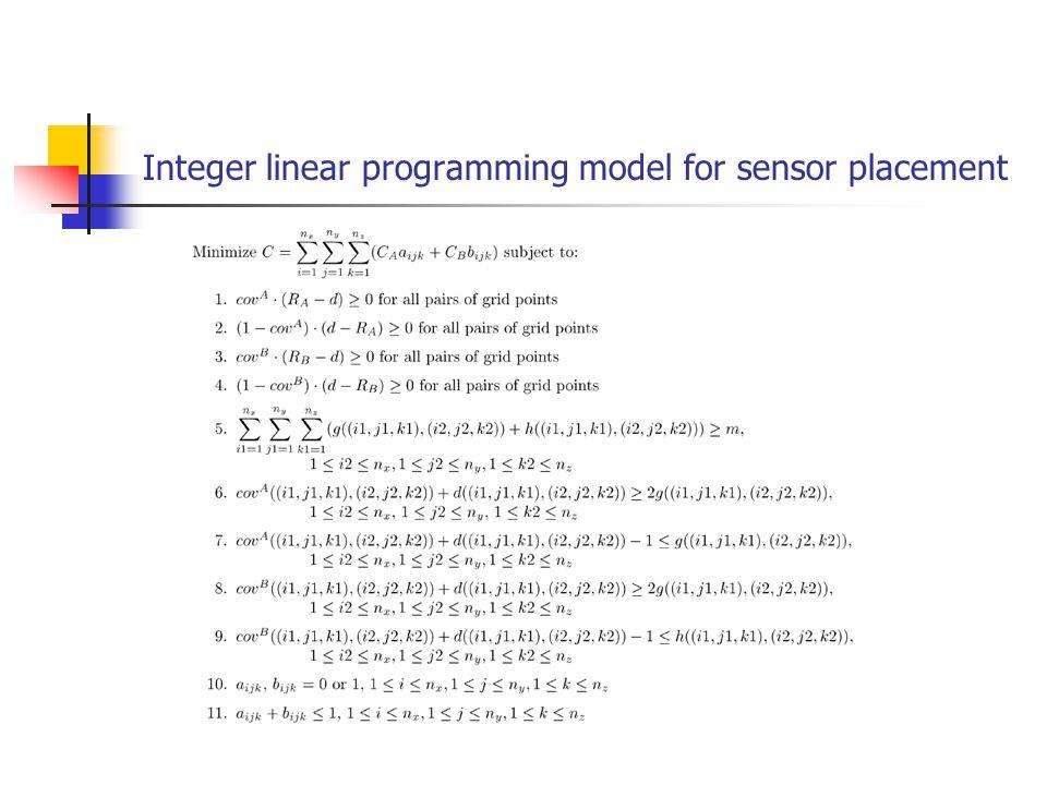Integer linear programming model for sensor placement