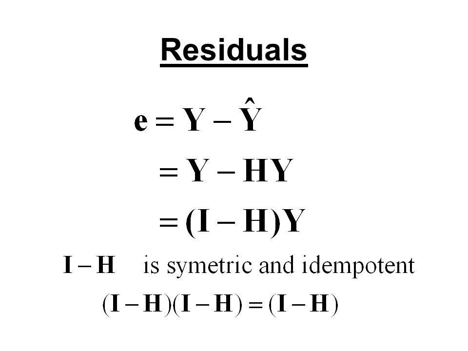 Covariance Matrix of residuals Cov(e)=σ 2 (I-H)(I-H)΄= σ 2 (I-H) Var(e i )= σ 2 (1-h ii ) h ii = X΄ i (X΄X) -1 X i X΄ i =(1,X i1,…,X i,p-1 ) Residuals are usually correlated Cov(e i,e j )= -σ 2 h ij