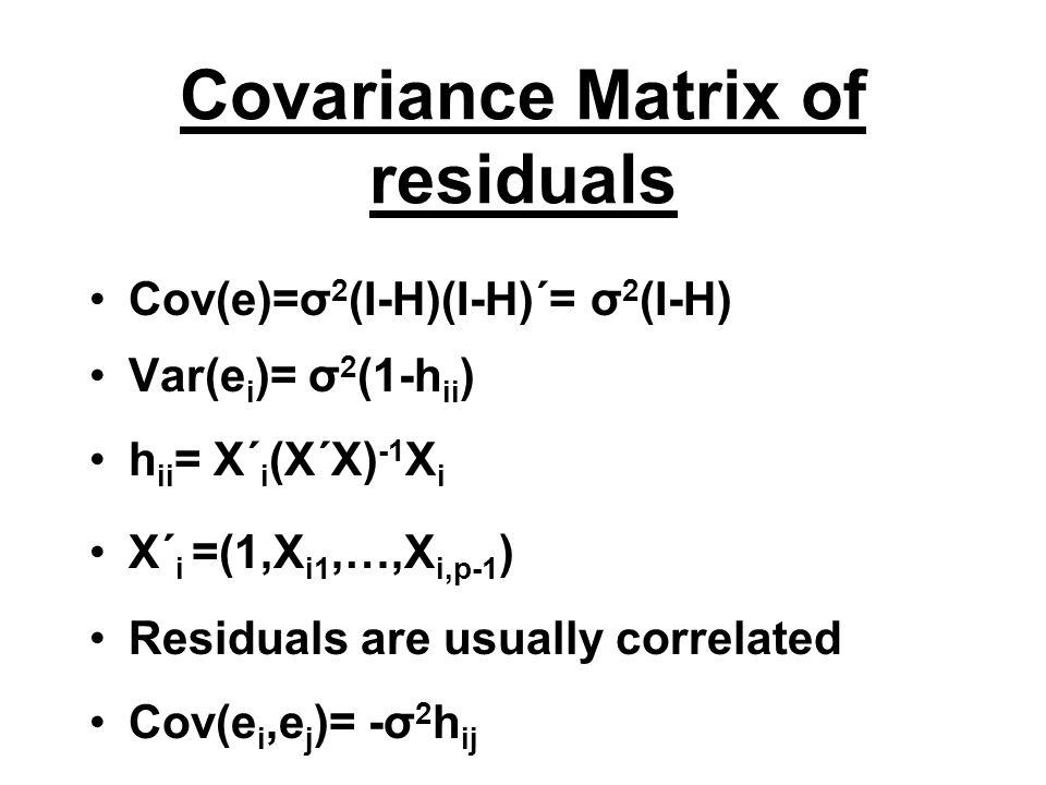 Covariance Matrix of residuals Cov(e)=σ 2 (I-H)(I-H)΄= σ 2 (I-H) Var(e i )= σ 2 (1-h ii ) h ii = X΄ i (X΄X) -1 X i X΄ i =(1,X i1,…,X i,p-1 ) Residuals