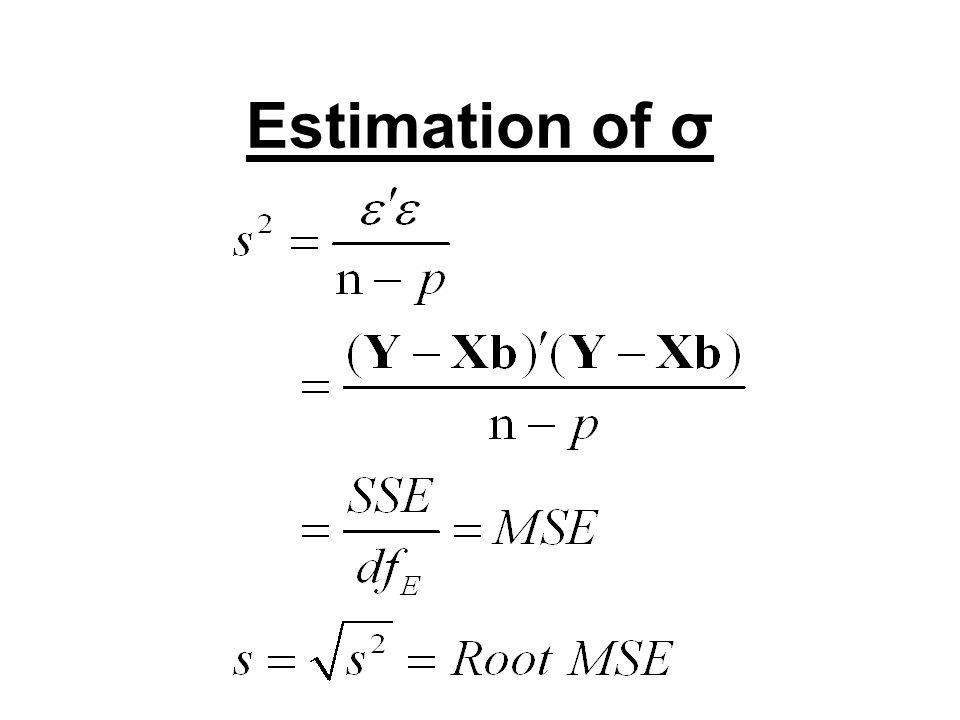 Distribution of b b = (X΄X) -1 X΄Y Since Y~N(Xβ, σ 2 I ) E(b)=((X΄X) -1 X΄)Xβ=β Cov(b)=σ 2 ((X΄X) -1 X΄)((X΄X) -1 X΄)΄ =σ 2 (X΄X) -1 σ 2 (X΄X) -1 is estimated by s 2 (X΄X) -1