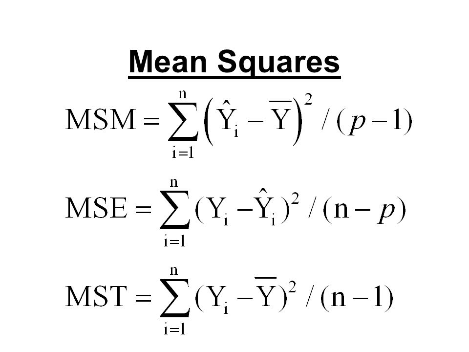 ANOVA Table Source SS df MS F Model SSM df M MSM MSM/MSE Error SSE df E MSE Total SSTO df Total MST