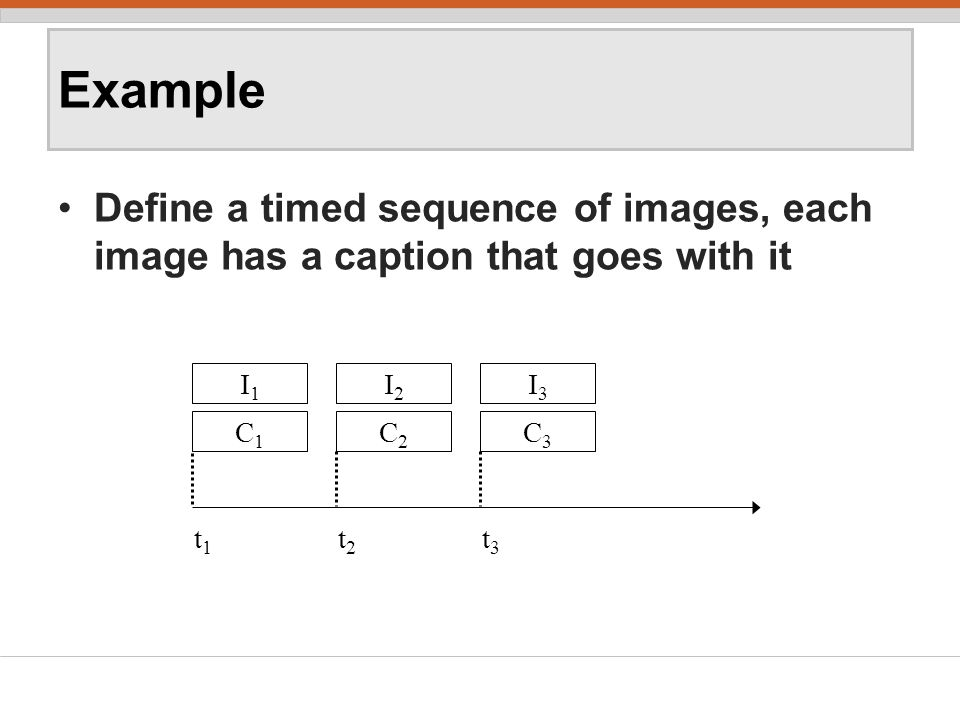Example Define a timed sequence of images, each image has a caption that goes with it I1I1 C1C1 t1t1 I2I2 C2C2 t2t2 I3I3 C3C3 t3t3