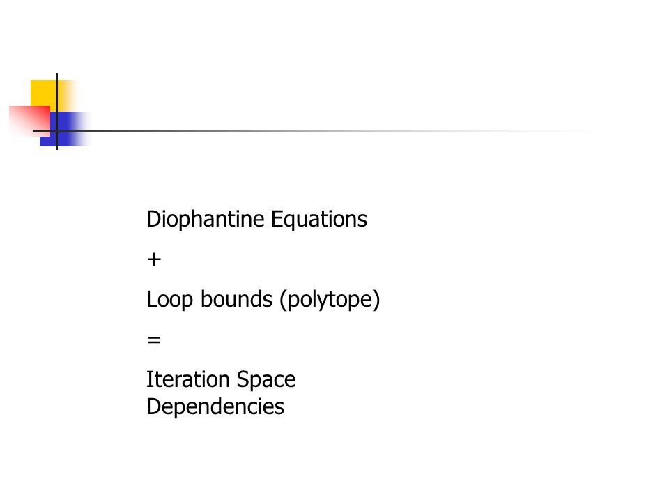 Diophantine Equations + Loop bounds (polytope) = Iteration Space Dependencies