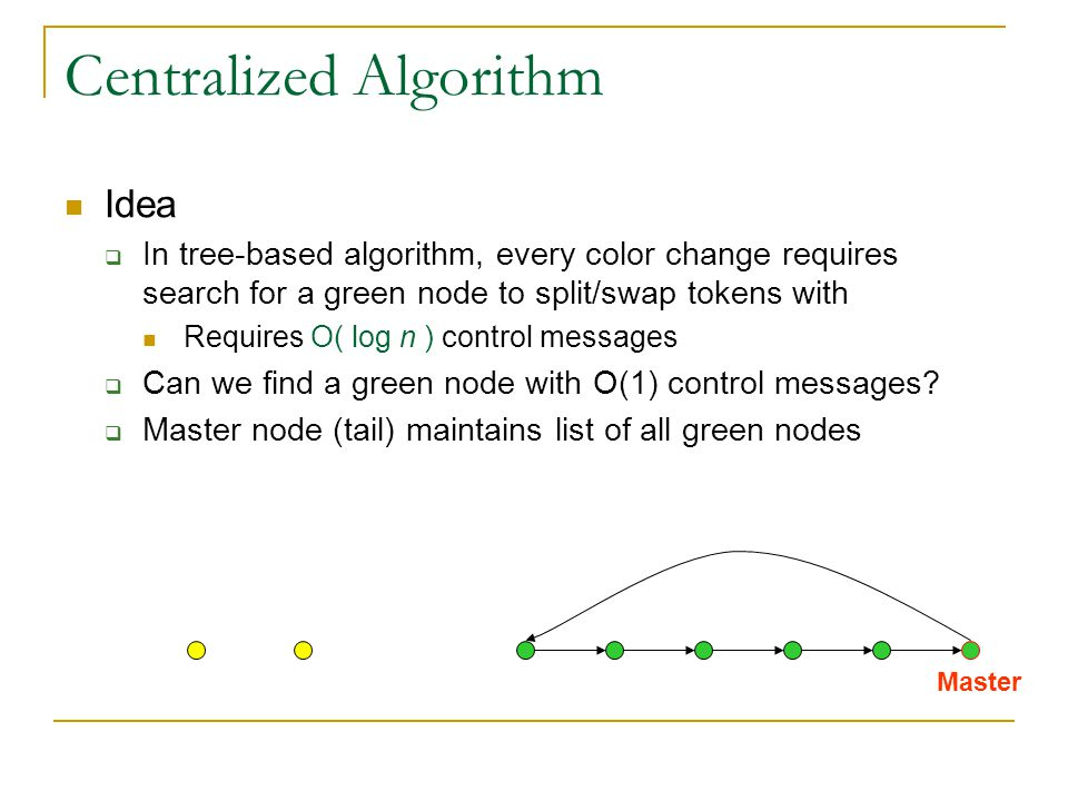 Centralized Algorithm Idea  In tree-based algorithm, every color change requires search for a green node to split/swap tokens with Requires O( log n