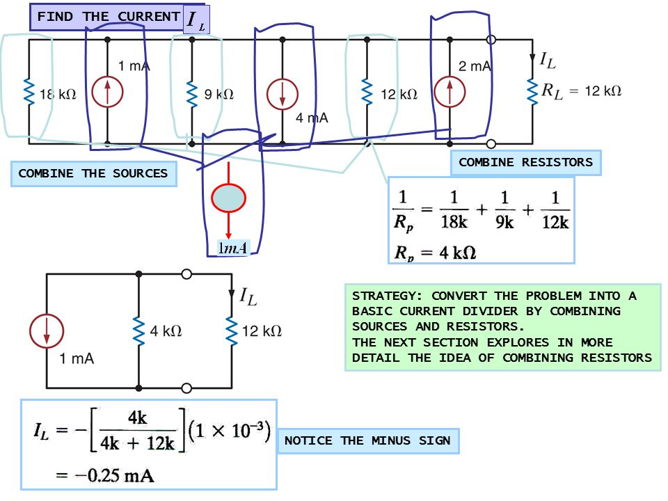 FIND THE CURRENT COMBINE THE SOURCES COMBINE RESISTORS STRATEGY: CONVERT THE PROBLEM INTO A BASIC CURRENT DIVIDER BY COMBINING SOURCES AND RESISTORS.