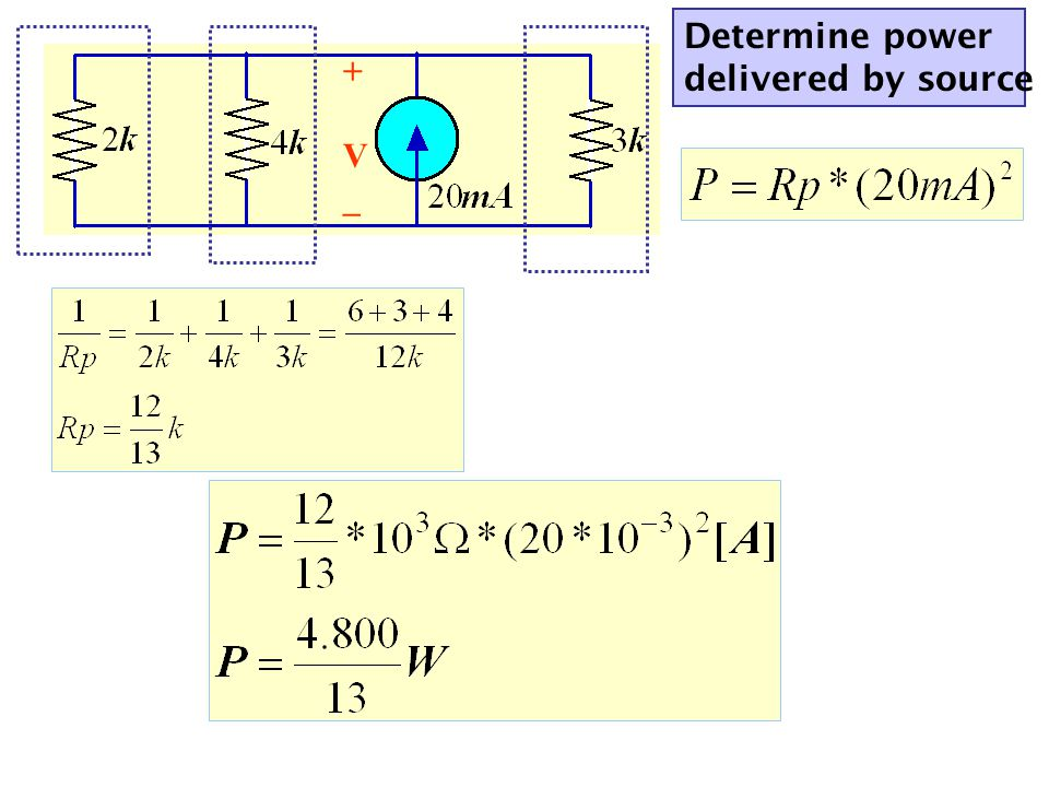 Determine power delivered by source +V_+V_