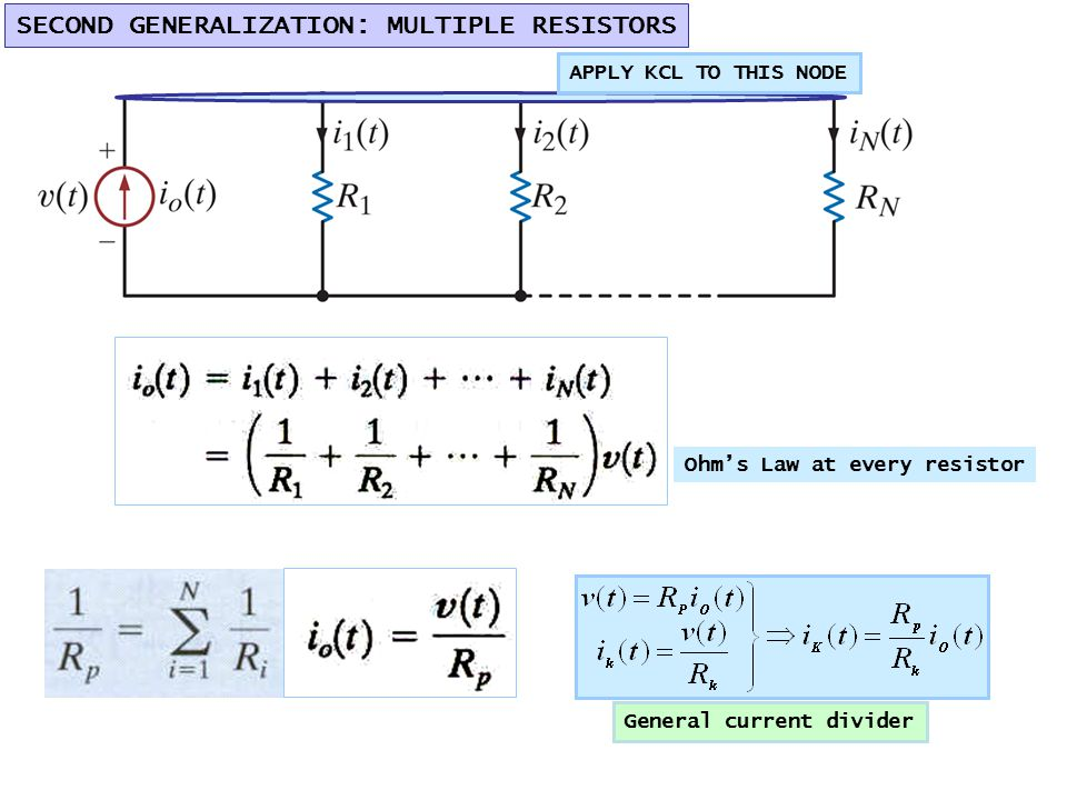 APPLY KCL TO THIS NODE SECOND GENERALIZATION: MULTIPLE RESISTORS General current divider Ohm's Law at every resistor