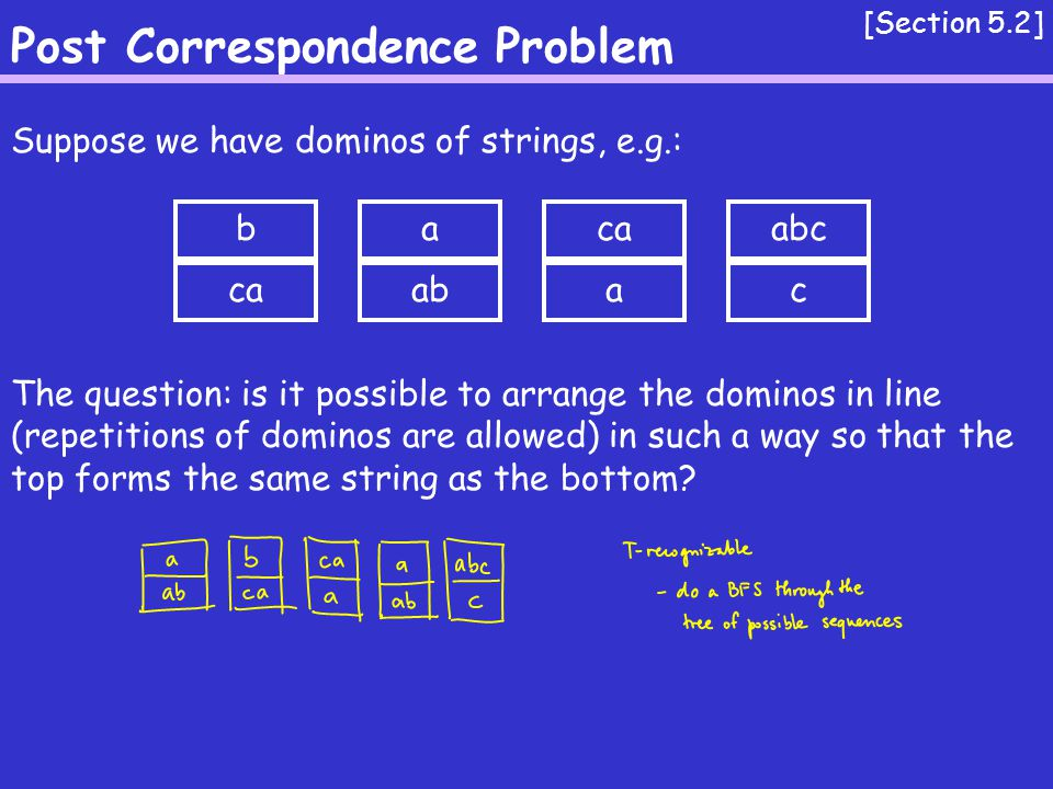 Post Correspondence Problem [Section 5.2] Suppose we have dominos of strings, e.g.: The question: is it possible to arrange the dominos in line (repetitions of dominos are allowed) in such a way so that the top forms the same string as the bottom.